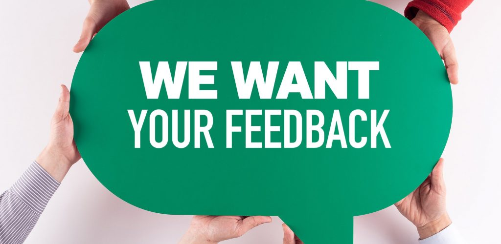 Group of People Message Talking Communication WE WANT YOUR FEEDBACK Concept